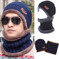 Women Men Camping Hat Winter Beanie Baggy Warm Wool Fleece Ski Cap + Neckerchief