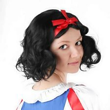 Princess Snow White Cosplay Prop Wig Short Black Curly Synthetic Hair Fairy Tale