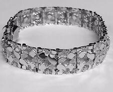 "10kt Solid White Gold Handmade Mens Nugget Bracelet 14 mm 36 grams 7"""