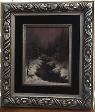 Original 8x10 Oil Painting Snowy Creek Beautiful Hand Carved Wooden Frame 15x17