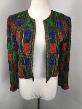 Vtg 80s Checkered Jacket Cardigan Flapper Gatsby Sequin Evening 100% Silk Ps