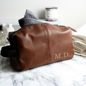 Personalised Gift for Him -  Luxury Initials Brown Leather Wash Bag - Travel Bag