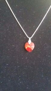 "UK Hand-Made .925 17"" Sterling Silver Red Crystal Heart Pendant Necklace"