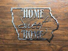 Iowa State Outline Home Sweet Home Metal Wall Art Home Decor