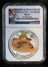 2008 P ** S$1 AUSTRALIA COLORIZED ** Lunar Mouse (Rat) 1 Oz. SILVER ** NGC MS70