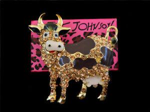 Women's Enamel Crystal Cute Milk Cow Charm Betsey Johnson Brooch Pin Gift