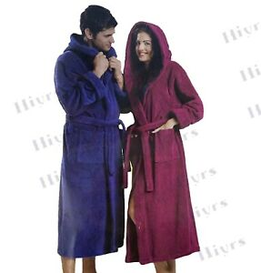 100% Cotton Terry Towel Hood Unisex Bath Robe Dressing Gown Soft Cozy Toweling