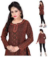 Women Fashion Indian Short Kurti Tunic Brown Tank Kurta Kurta Dress 36A