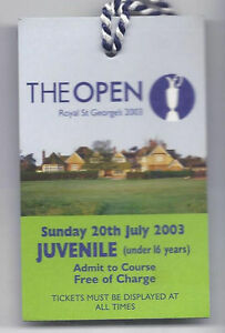 2003 British Open Ticket 4th Tournament Round Sunday July 20th
