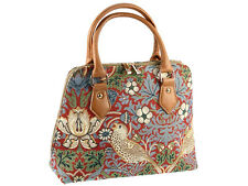 Signare Ladies Tapestry Handbag / Shoulder Bag In Strawberry Thief Red Design