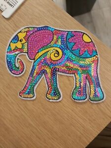 Elephant indian patch applique motif 167x118mm iron on sewing sequin