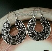 Aztec Brass Boho Bohemain Gypsy Turkish half moon Hoop Tribal Ethnic earrings