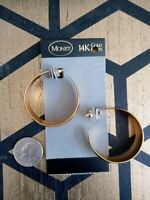 NWT VINTAGE MONET HOOPS 14KT GOLD POSTS PIERCED EARRINGS Large RARE GORGEOUS ❤️