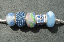 5 Pale Sapphire Blue Mix Glass Rhinestone Beads fit European Charm Bracelet
