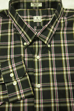 NEW Peter Millar Black With Purple and Gray Plaid BD Cotton Shirt XXL 18.5x37