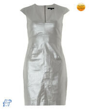 FRENCH CONNECTION Silver Shimmer Shift Dress Size UK 16