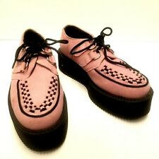 T.U.K. TUK Womens 6 Mens 4 Pink Suede Leather Creeper Sneaker Platform Shoes EUC