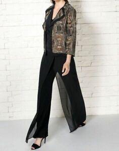 ELENA MIRO' Eleganti Pantaloni Neri Pannello Frontale Chiffon Tg 47=56 IT