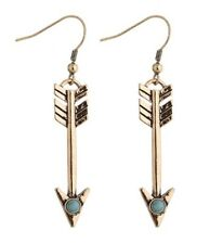Arrow Drop Dangle Earrings Gold Toned Turquoise Colored Stone