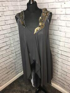 Next Dark Grey Chiffon/satin Dress Size 12 Gold Sequin collar embellishment