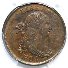 1804 C-12 R-2 PCGS MS 62 BN Crosslet 4, No Stems Draped Bust Half Cent Coin 1/2c