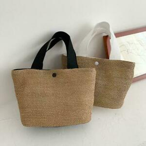 Summer Bohemian Handmade Weaving Bags Women Beach Straw Bag Bag Wrapped I4B6