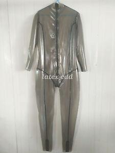 Latex Ganzanzug Catsuit Gummi Smoke Grey Crotch Zipper Handmade Bodysuit S-XXL