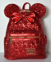 Disney Parks Loungefly Redd Red Sequined Minnie Mouse Backpack New With Tags