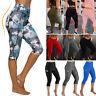 Womens Sports YOGA Pants Capri Leggings Pockets Workout Gym Fitness High Waist