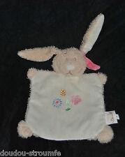 Peluche Doudou Lapin Plat  BENGY Marionnette Beige Fleurs Rose Fille Hase Rabbit