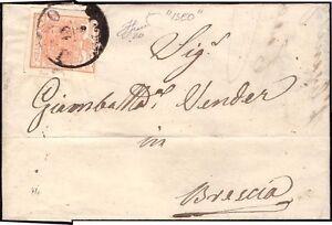 LOMBARDO VENETO 1858 - 15 c. n. 20 ISEO p. 7 x BRESCIA € 765