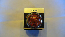 "GE 30mm YELLOW INDICATOR  LIGHT ASSY- PLASTIC LENS W/ #755  BULB, W/BEZEL ""OPEN"""
