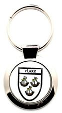Irish Round Metal Bag Purse Keyring Charm Clare County Crest Shield