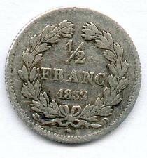 TOP RARE MONNAIE DE 1/2 FRANC LOUIS PHILIPPE ARGENT 1832 D @ LYON RARE TOP