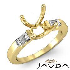 3 Stone Diamond Wedding Classic Baguette Round Mount Ring 18k Yellow Gold 0.3Ct