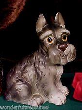 "8""Tx7""L PRECIOUS Vintage HP SCHNAUZER Dog Figurine Statue Lefton BIG EYES Japan!"
