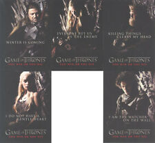 """Game of Thrones Season 1: """"You Win or You Die Cards"""" Set of 5 Chase Cards #SP1-5"""