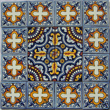 """W179 - 16 Mexican Talavera Tiles Clay Hand-painted 4x4"""""""
