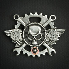 WINGED STEAMPUNK SKULL PEWTER CONCHO BIKER PIN WITH .45 CALIBER SHELLS