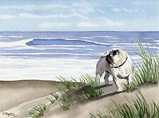 PUG AT THE BEACH Painting Dog 8 x 10 Art Print by Artist DJR