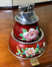 Rare Vintage Japanese Pigeon Blood Red Cloisonne Ashtray and Lighter