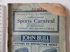 VINTAGE 1936 CYCLING SPORTS CARNIVAL BOURNVILLE BIRMINGHAM LOCAL ADVERTS CB22/3