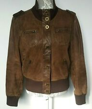 Ladies Leather Jacket UK 16 Brown Bomber Button Down Factory Fade Lined Epaulets