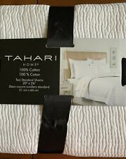 Tahari Home Set Of 2 Standard Shams White Cotton Quilted Textured New