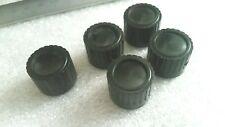 More details for 5 x vintage black control knobs 70`s radio amplifier tuner brass insert-nos