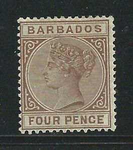 BARBADOS QUEEN VICTORIA Sg98? pale brown? Mounted Mint