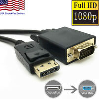 6 Feet Gold Plated DisplayPort DP Male to VGA Male Cable Cord For Lenovo Dell HP
