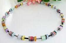 Halskette Collier Würfel Cube Malachit  mehrfarbig Polaris pastell Strass 509c