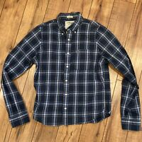 Abercrombie And Fitch Muscle Men's Large Plaid Long Sleeve Shirt Blue yellow