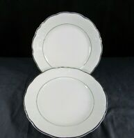 Wawel WAV23 Set of 2 Bread and Butter Plates Fine China Gold Trim White Poland
